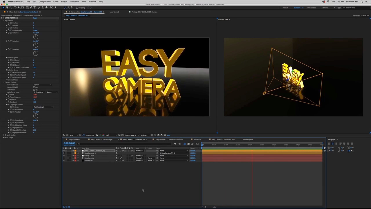 Easy Camera CC and Element 3D